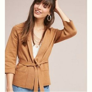 NWOT Anthro Moth Rizzo Belted Camel Wrap Cardigan